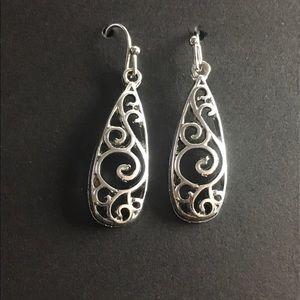 Filigree Silver Tone Earrings